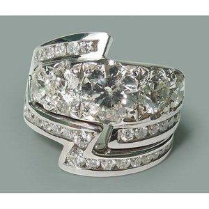 4.57 carat Round diamonds wedding ring and band se